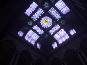 Glass dome in the entry hall at Osgoode Hall in May 2017