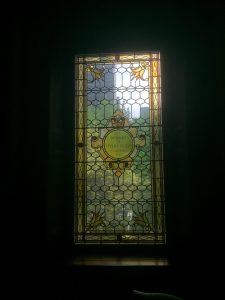 Stained glass window in the East Wing at Osgoode Hall in May 2017