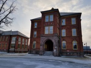 Old Lakeshore Psychiatric Hospital administration building at Humber College Lakeshore Campus in January 2019