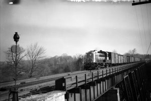 CPR engine #8456, looking south across CPR bridge over West Don River in 1955. Picture by James V. Salmon. Courtesy of Toronto Public Library.