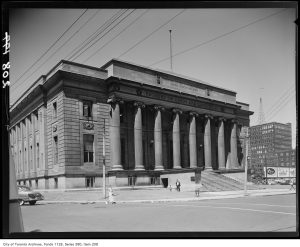 """The Registry Building in the 1950's, the only piece ever built of the Federal Ave masterplan devised to wipe """"The Ward"""" off the map. City of Toronto Archives, Fonds 1128, Item 208."""
