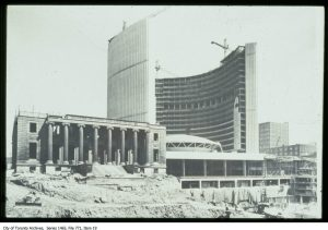 Partially demolished Registry Building in the foreground makes way for City Hall's podium in 1964. City of Toronto Archives, Fonds 1465, Item 19.