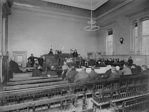 A courtroom in 1899, likely on the second floor. Courtesy of Toronto Public Library, Baldwin Collection.