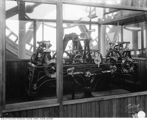 Works of Old City Hall clock in 1900. City of Toronto Archives, Fonds 1568, Item 168.