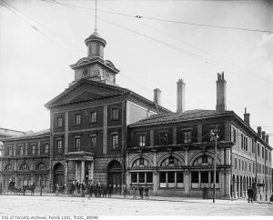 Toronto's Front St City Hall in 1895. The first three storeys of the central mass survive in today's St. Lawrence Market South Building's facade. City of Toronto Archives, Fonds 1231, Item 98