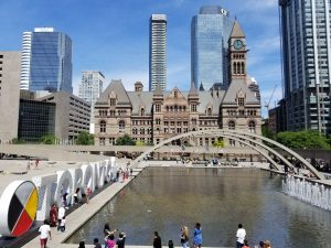 Old City Hall and Nathan Phillips Square in July 2019